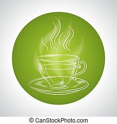 té, diseño, texto, lugar, taza