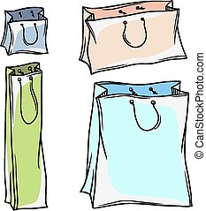 Set of colored vector paper shopping bags