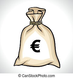 Money bag with euro sign vector illustration.