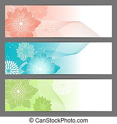 Vector floral illustration background. Horizontal banner. -...