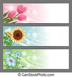 Vector floral illustration background. Horizontal banner. -...