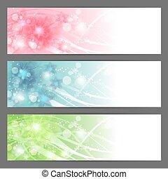 Vector floral illustration background Horizontal banner -...