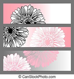 Vector floral illustration background Horizontal banner -...