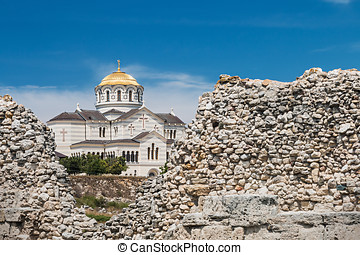 view of Vladimir Cathedral in Tauric Chersonesos, Sevastopol...