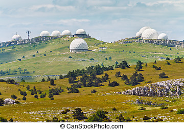 Crimean observatory on the plateau of Mountain Ai-Petri -...
