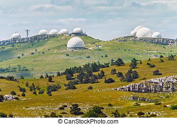 Crimean observatory on the plateau of Mountain Ai-Petri -...