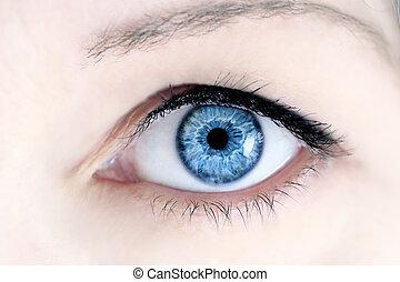 Blue Eye - Macro of a woman's beautiful blue eyes. Extreme...