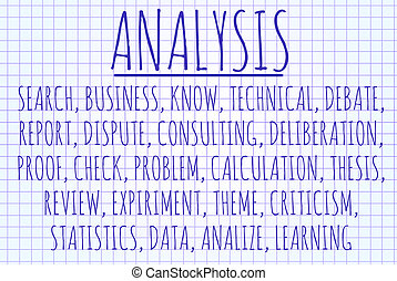 Analysis word cloud written on a piece of paper