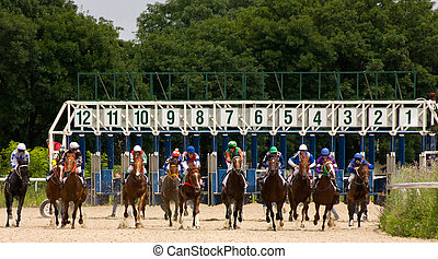 """Horse racing - Race for the prize of the """"Derby"""" in..."""