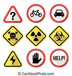 Warning signs - danger, risk - Attention, warning vector...