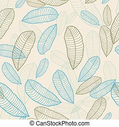 Vector illustration. Seamless pattern of abstract leaves.