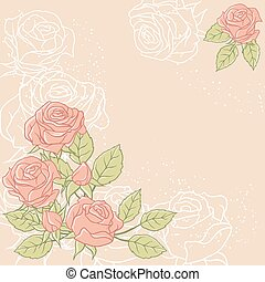 Floral background with rose in pastel tones.