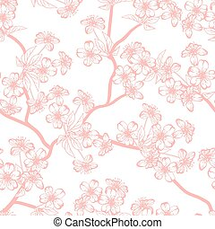 Cherry blossom vector background. (Seamless flowers...