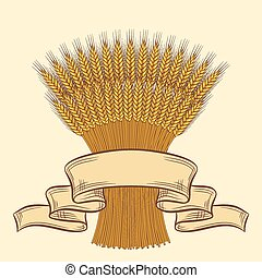 Background with ripe yellow wheat ears vector illustration