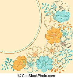 Vector background with hand drawn stylish flowers.
