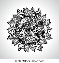 Vector illustration of sunflower Flower element for design