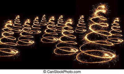 sparkler christmas trees spiral