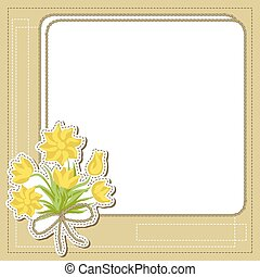Vintage frame with flowers, vector retro background