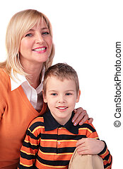 Middleaged woman with boy