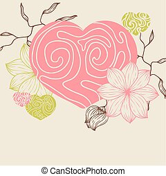 Birds flower and hearts concept Vector illustration