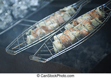Fish on a grill - outdoor picnic
