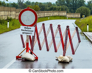 flood 2013. austria. floods and flooding. roadblock