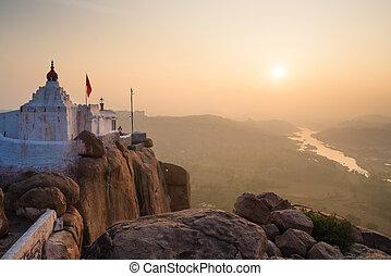 Monkey temple at sunrise hampi india - Monkey temple at...