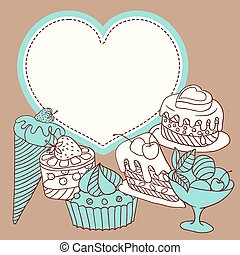 Vector frame with and sweet little cupcakes