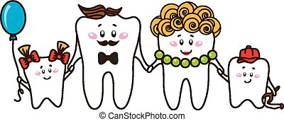 The family of the teeth on white background - Family of the...
