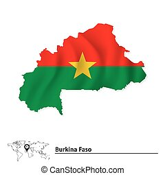 Map of Burkina Faso with flag
