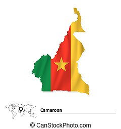 Map of Cameroon with flag