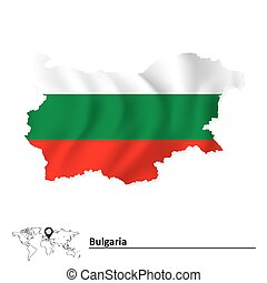 Map of Bulgaria with flag - vector illustration