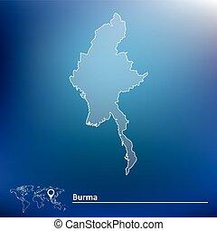 Map of Burma - vector illustration