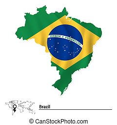 Map of Brazil with flag
