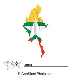 Map of Burma with flag