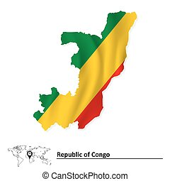 Map of Republic of Congo with flag
