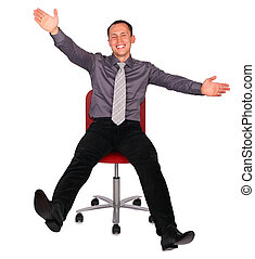 Young man in office chair