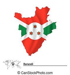 Map of Burundi with flag