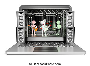 3D white people Concert in a laptop Video streaming concept...