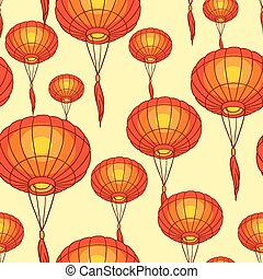 Fairy-lights Big traditional chinese lanterns Vector -...