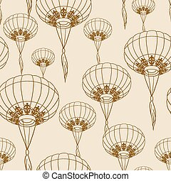 Fairy-lights. Big traditional chinese lanterns. Vector. -...