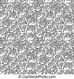 Floral background with roses. Vector seamless pattern.