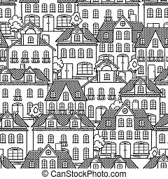 Seamless vector pattern with houses and trees