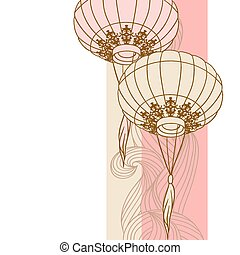 Fairy-lights. Big traditional chinese lanterns. Vector.