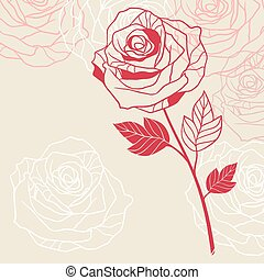 Floral background with pink roses.
