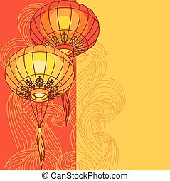Fairy-lights. Big traditional chinese lanterns. -...