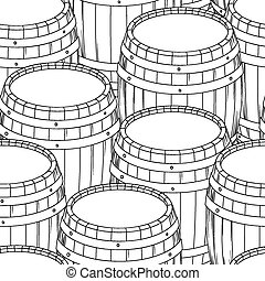 Barrel and cup seamless background Vector illustration