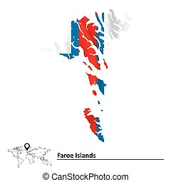 Map of Faroe Islands with flag