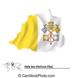 Map of Vatican with flag
