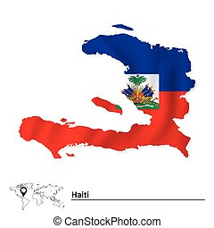 Map of Haiti with flag